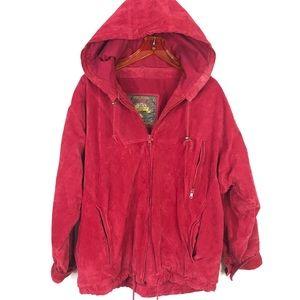 Vintage Red Suede Leather Bomber Jacket Coat